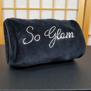 "Black Velvet Cosmetic Bag ""So Glam"" in Rhinestones"
